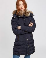 Joules Caldecott Ladies Feather and Down Coat - Marine Navy